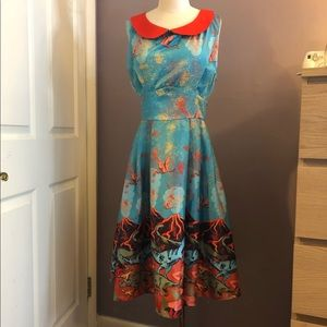 Lindy Bop Volcano and Dinosaur Swing Dress Size 12